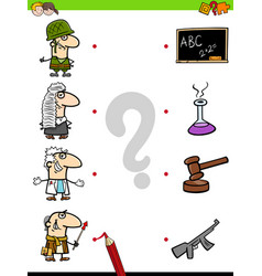 Match professions educational game for kids vector