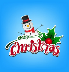 merry christmas card on light blue background vector image