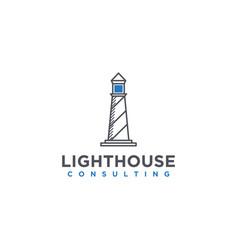 Modern lighthouse logo with a simple minimalist vector