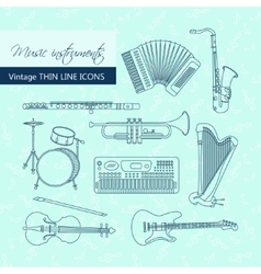 Music instruments thin line icon set for web and vector image
