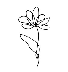 One line drawing abstract flower hand drawn vector