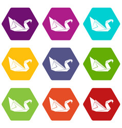 Origami swan icons set 9 vector