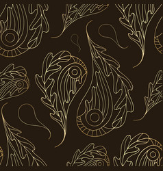 Paisley seamless pattern gold abstract oak vector
