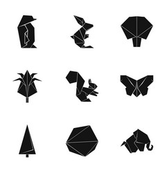 Paper frippery icons set simple style vector