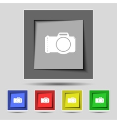 Photo camera sign icon Digital symbol Set vector image