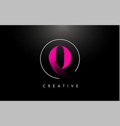 pink o brush stroke letter logo design paint vector image