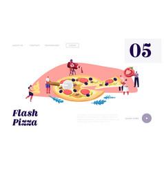 pizzeria bistro website landing page tiny people vector image