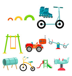 Play garden set icons in cartoon style big vector