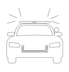 police cop car with siren front view simple black vector image