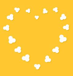 Popcorn flying heart shape frame cinema movie vector