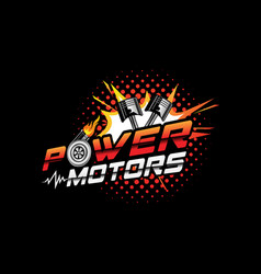 power motor logo with piston and turbocharger vector image