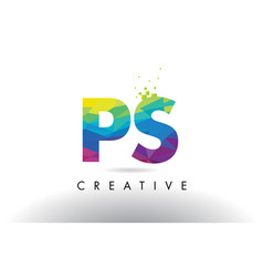 Ps p s colorful letter origami triangles design vector
