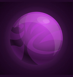 purple planet icon cartoon style vector image