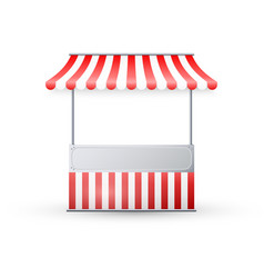 realistic empty market stall with red and white vector image