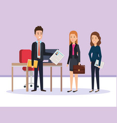 resources human office company scene with vector image