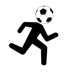Running footballer with soccer ball vector