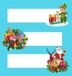 santa christmas gifts and elf xmas banners vector image