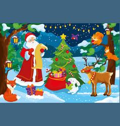 Santa claus checking christmas presents for vector