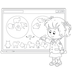 Schoolgirl at the interactive whiteboard vector