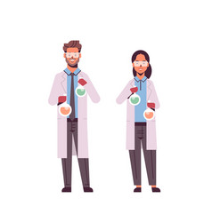 Scientists couple holding test tubes man woman in vector