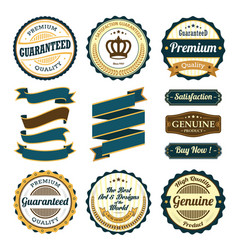set badges and ribbons vector image