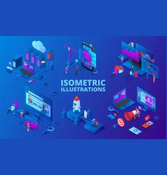 set isometric startup digital vector image