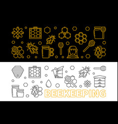 set of 2 beekeeping outline horizontal vector image