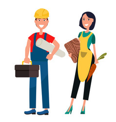 set of housewife and constructor graphic design vector image