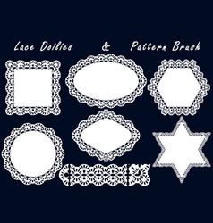 set of lace napkins and pattern brush for vector image