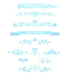 set of vintage watercolor design elements vector image