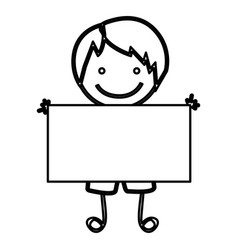 Sketch silhouette front view cartoon boy with vector