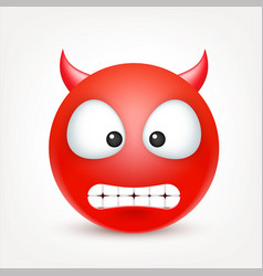 smiley red devil emoticon yellow face vector image