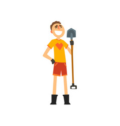 smiling male farmer with shovel cheerful gardener vector image