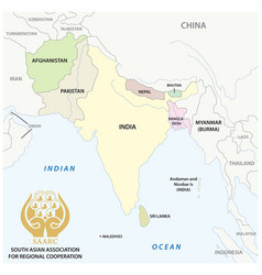 south asian association for regional cooperation vector image