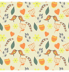 Spring lovely seamless pattern with flovers and vector
