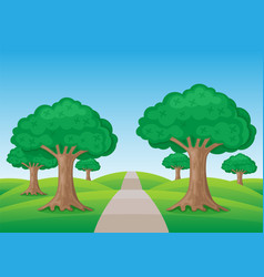 summer nature with trees vector image