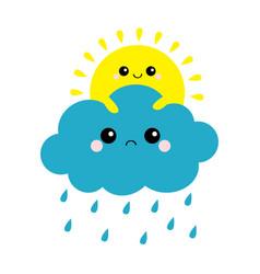 sun holding cloud set rain drop weather smiling vector image