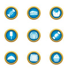 sweet dish icons set flat style vector image