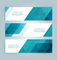 Three business style set of web banners in blue vector