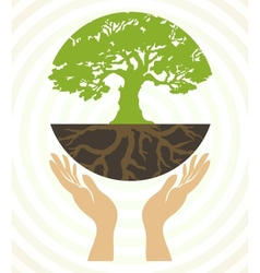 tree icons with hands vector image