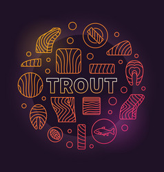 Trout round colored red fish vector