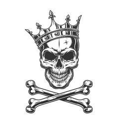 vintage monochrome skull in royal crown vector image