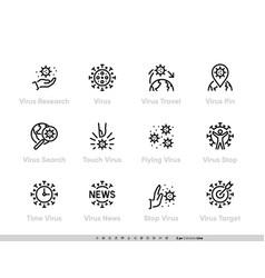 Virus spread and research coronavirus icon set vector