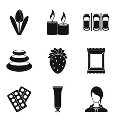 warming up icons set simple style vector image