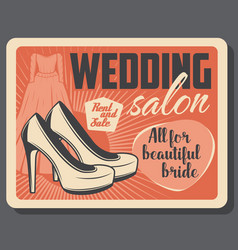 wedding salon bride dress and high heel shoes vector image