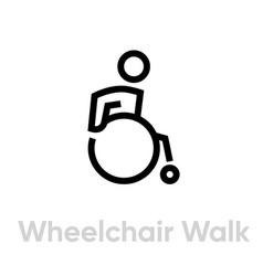Wheelchair walk activity icon vector