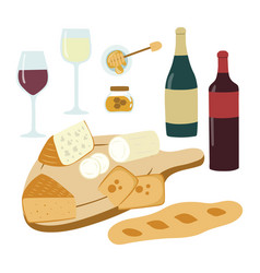 Wine and cheese hand drawn set gourmet vector