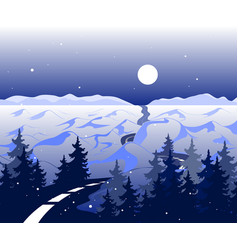 winter background with road and snowy vector image