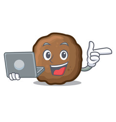 With laptop meatball character cartoon style vector