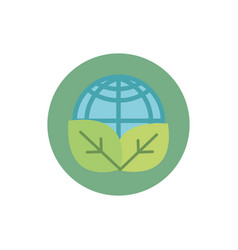 world leaves nature green energy block icon vector image
